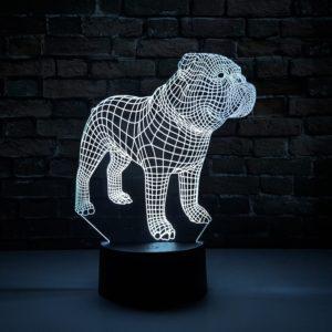 Luminária LED 3D Buldogue Inglês
